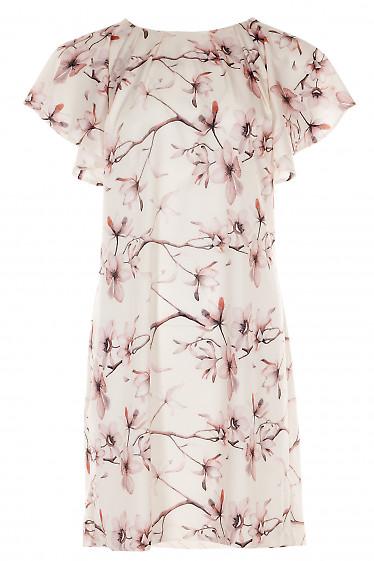 Платье молочное в цветы с крылышками Деловая женская одежда фото