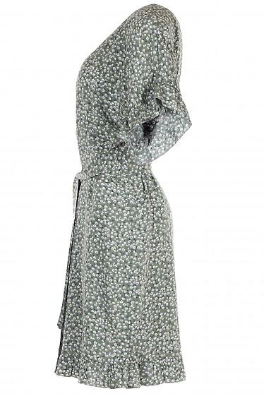 Мятное летнее платье с коротким рукавом