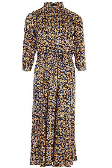 Платье на кулисе в желтые цветы Деловая женская одежда фото
