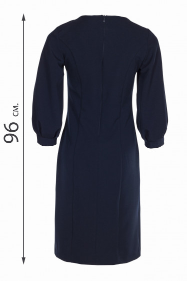Синее платье с пышными рукавами. Деловая женская одежда фото