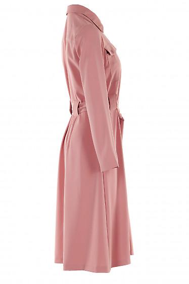 Розовое платье с поясом