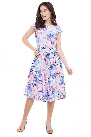 Сукня рожева з блакитними квітами Діловий Жіночий Одяг фото