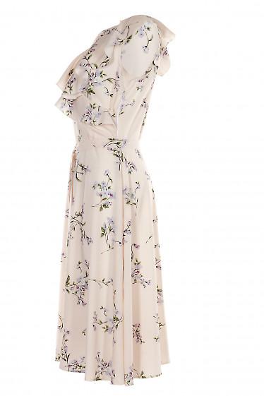 Купить нарядное розовое платье с воланом. Деловая женская одежда фото