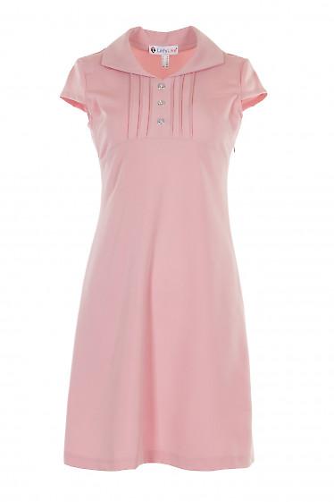 Платье розовое с защипами и коротким рукавом. Деловая женская одежда фото