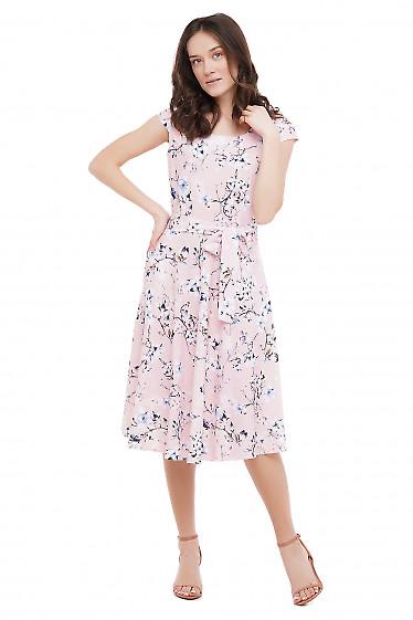 Сукня рожева в квіти Діловий Жіночий Одяг фото
