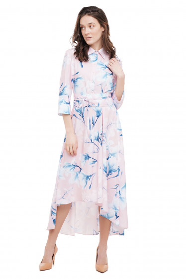 Платье розовое в голубые цветы Деловая Женская Одежда фото