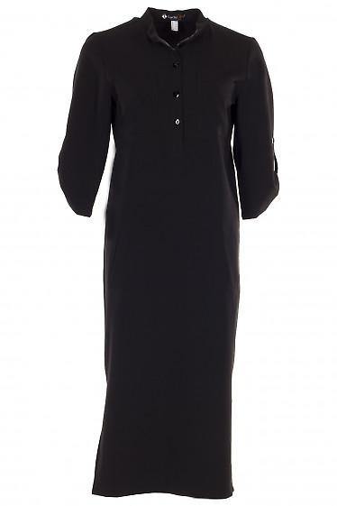 Платье с накладными карманами черное Деловая женская одежда фото