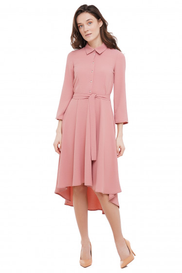 Платье с неровным низом розовое Деловая Женская Одежда фото