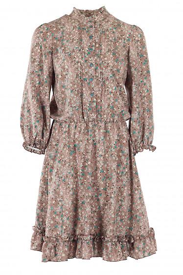 Платье с рюшей в цветы. Деловая женская одежда