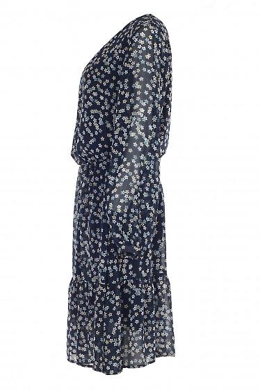 Купить синее шифоновое платье с длинным рукавом. Деловая женская одежда фото
