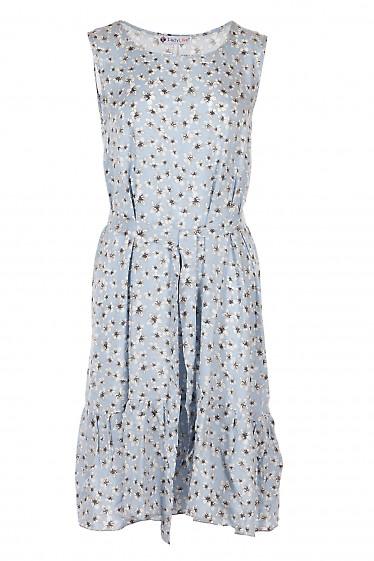 Платье штапельное голубое в серые цветы. Женская Одежда фото