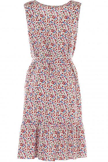 Платье в разноцветные цветы с воланом