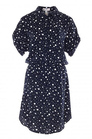 Платье синее с заокругленным низом. Деловая женская одежда фото