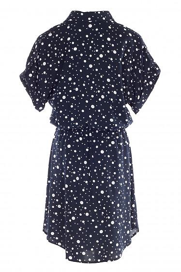 Платье синее с заокругленным низом в горох. Деловая женская одежда фото