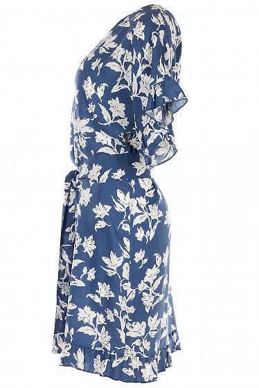 Синее хлопковое платье с рукавами-крылышками