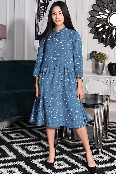 Платье синее со сборкой. Деловая женская одежда