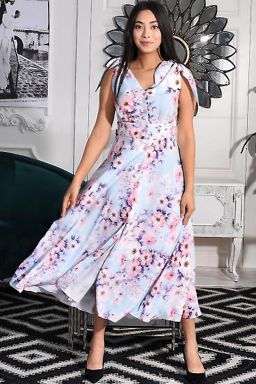 Платье сиреневое в цветы розовые. Деловая женская одежда