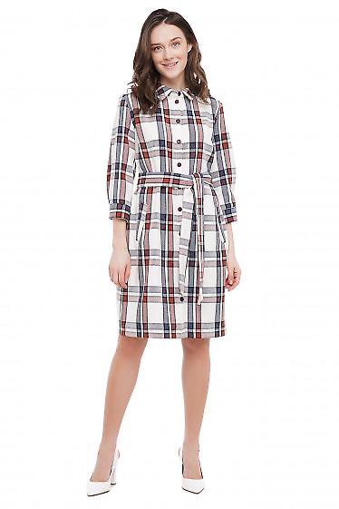 Платье теплое в крупную клетку Деловая Женская Одежда фото