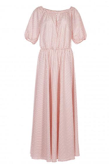 Платье в горошек с открытыми плечами. Деловая Женская Одежда фото