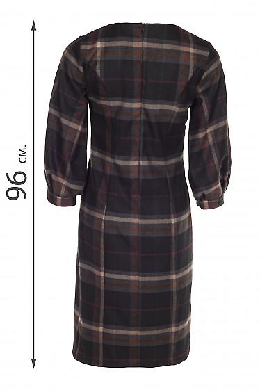 Платье теплое в клетку с защипами. Деловая женская одежда купить