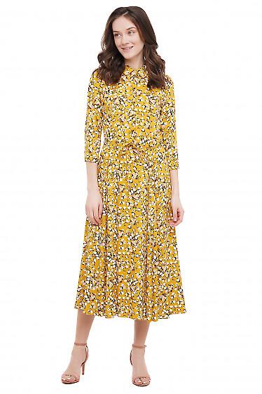 Сукня жовта в троянди Діловий Жіночий Одяг фото