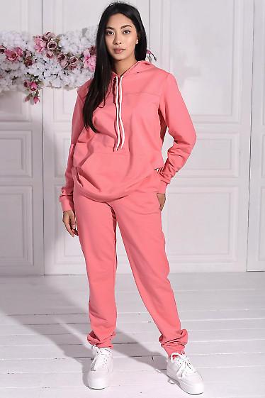 Розовый спортивный костюм с худи. Деловая женская одежда