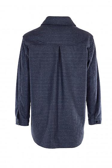 Купить очень теплую синюю женскую рубашку. Деловая женская одежда фото