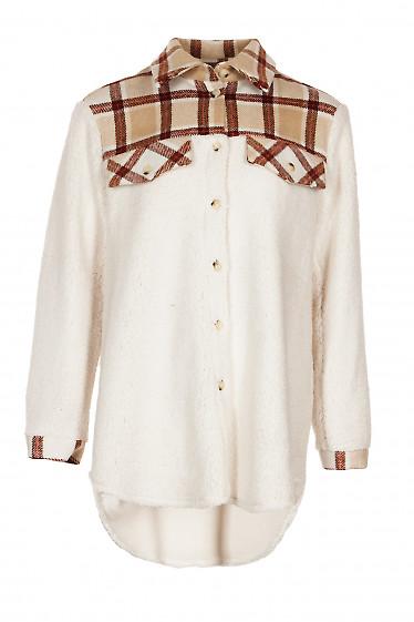 Рубашка белая на искусственном меху. Деловая женская одежда фото