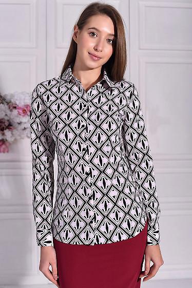 Рубашка женская в черный принт. Деловая женская одежда