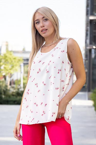 Топ белый просторный в малиновый цветок. Деловая женская одежда фото