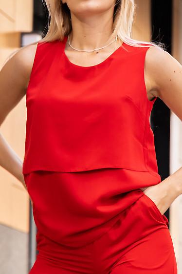 Купить красный топ из костюмной ткани. Деловая женская одежда фото