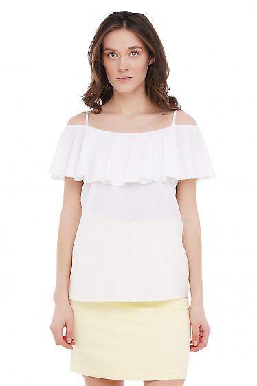 Топ с рюшью белый Деловая Женская Одежда фото