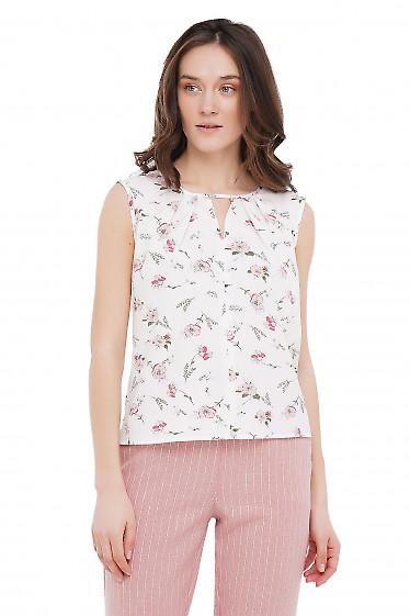 Топ с защипами молочный в цветы Деловая Женская Одежда фото