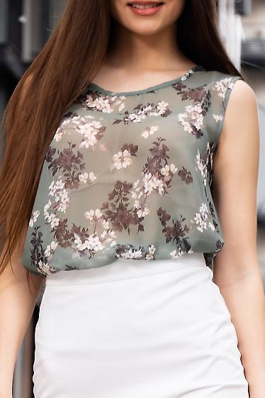 Купить зеленый шифоновый топ в цветы. Деловая женская одежда фото