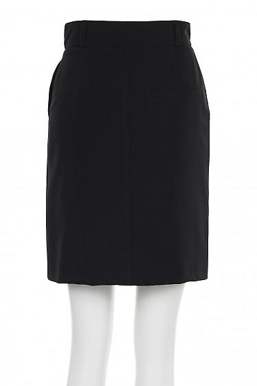Купить юбку черную короткую с застежкой впереди. Деловая женская одежда фото