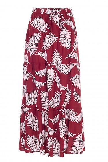 Юбка красно-белая льняная макси. Деловая женская одежда фото