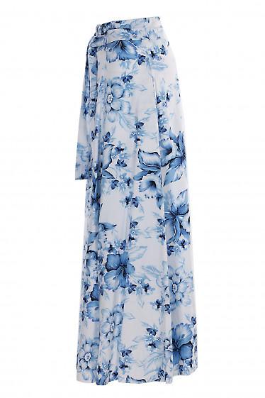 Купить льняную макси юбку в цветы. Деловая женская одежда фото