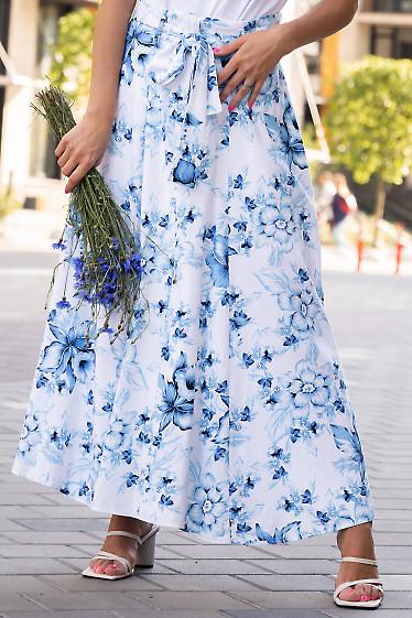 Летняя льняная юбка в голубые цветы. Деловая женская одежда фото