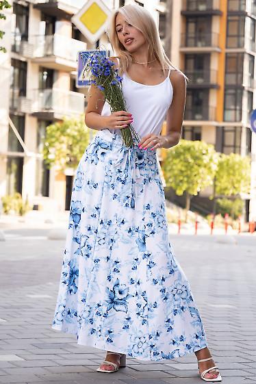 Летняя льняная юбка в цветы. Деловая женская одежда фото