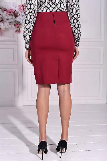 Малиновая юбка из костюмной ткани