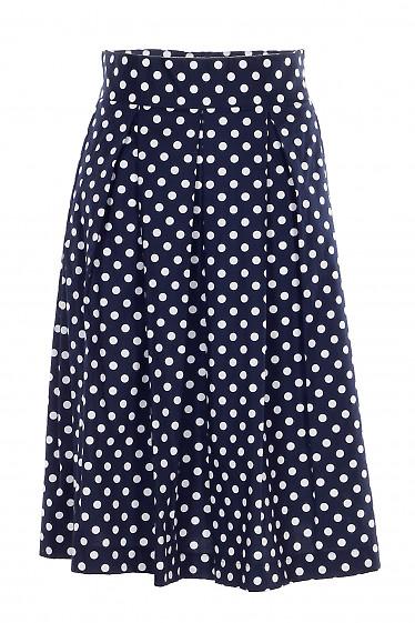 Купить юбку пышную синюю в белый горох. Деловая женская одежда фото