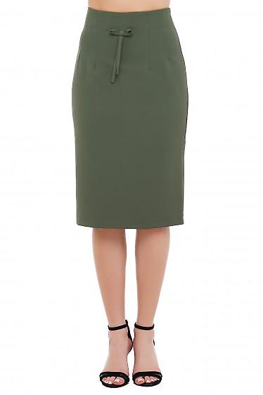Юбка с высокой талией цвета хаки Деловая Женская Одежда фото