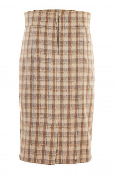 Купить юбку в бежевую клетку с высокой талией. Деловая женская одежда фото