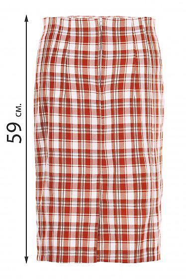 Юбка карандаш в рыжую клетку без пояса. Деловая женская одежда фото