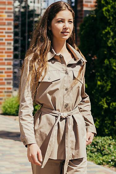 Бежевый жакет-рубашка.  Деловая женская одежда фото