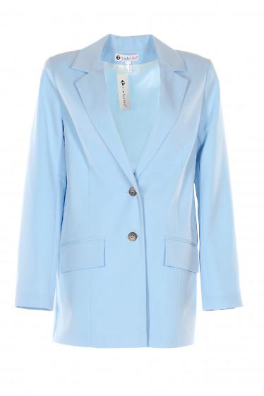 Жакет голубой оверсайз. Деловая женская одежда фото