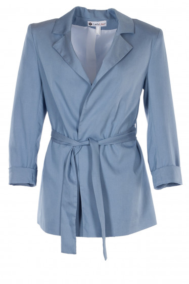 Жакет голубой женский под пояс. Деловая женская одежда