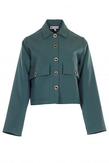 Жакет прямой короткий женский зеленый. Деловая женская одежда фото