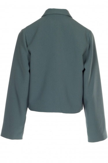 Короткий женский жакет зеленый. Деловая женская одежда фото