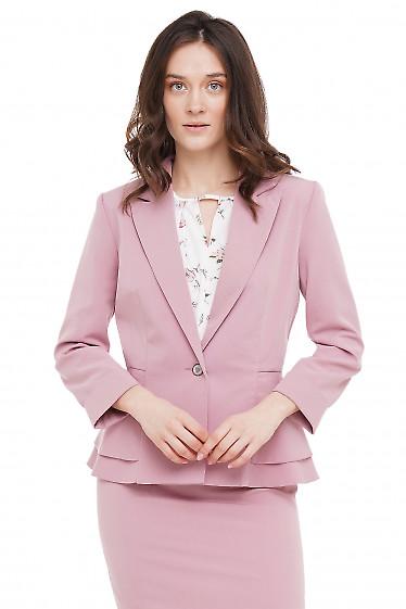 Жакет розовый с баской Деловая Женская Одежда фото
